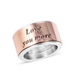 ION Plated RG/Stainless Spinner Love You More Ring